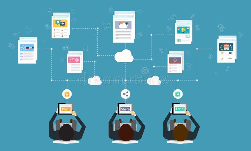 negocio que trabaja la conexión de red en línea por la tableta stock de ilustración