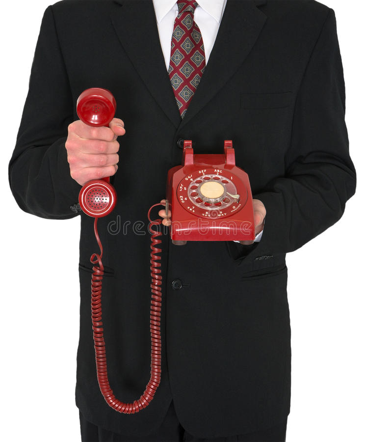 Negocio retro rojo del teléfono aislado fotos de archivo
