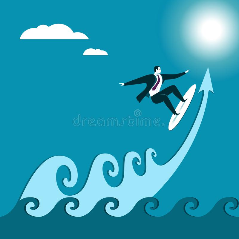 Negocio serfing Onda stock de ilustración