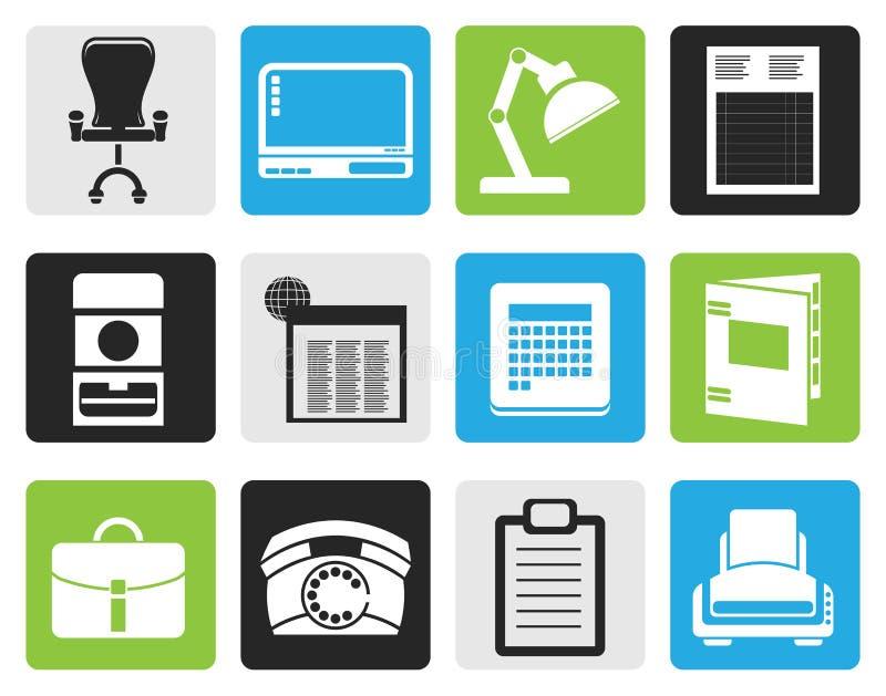 Negocio simple negro, oficina e iconos firmes stock de ilustración