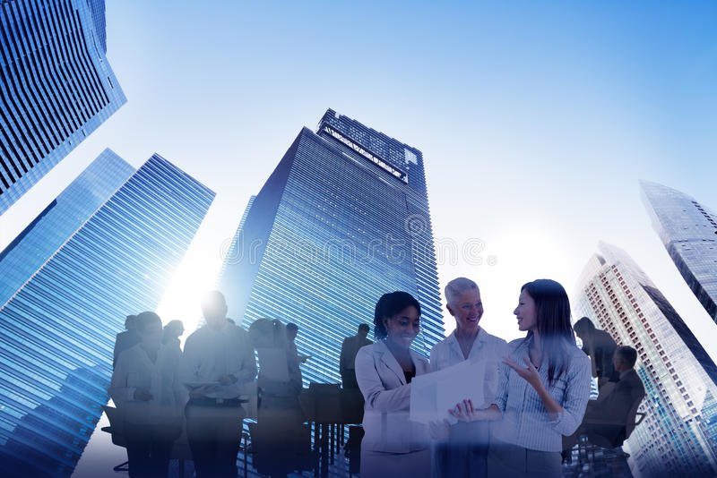 Negocio Team Teamwork Meeting Collaboration Concept de Scape de la ciudad imagen de archivo libre de regalías