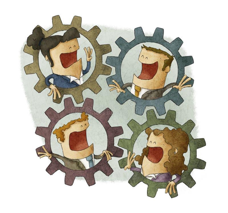 Negocio tres que conecta los dientes interiores libre illustration
