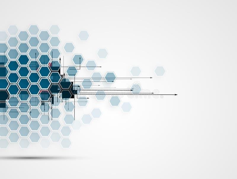 Negocio y desarrollo abstractos del fondo de la tecnología stock de ilustración