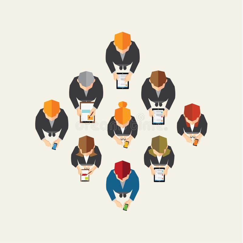 Negocio y diseño social del vector de la red de la oficina ilustración del vector