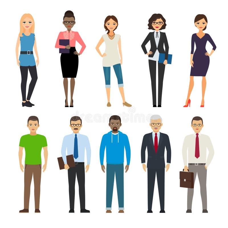 Negocio y gente vestida casual stock de ilustración