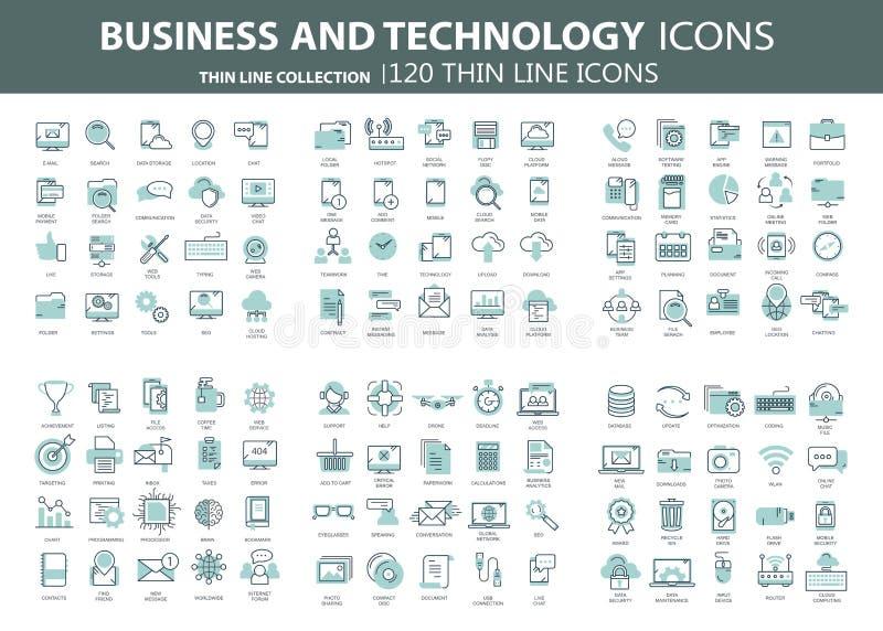 Negocio y márketing, programando, gestión de datos, conexión a internet, red social, computando, información stock de ilustración