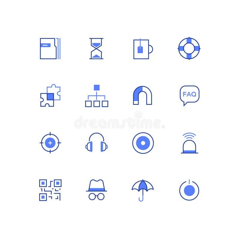 Negocio y seguridad - línea sistema de los iconos del estilo del diseño ilustración del vector