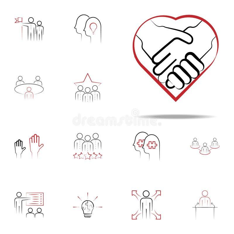 negocjacja barwiąca ręka rysująca ikona Drużynowy ikony ogólnoludzki ustawiający dla sieci i wiszącej ozdoby ilustracja wektor