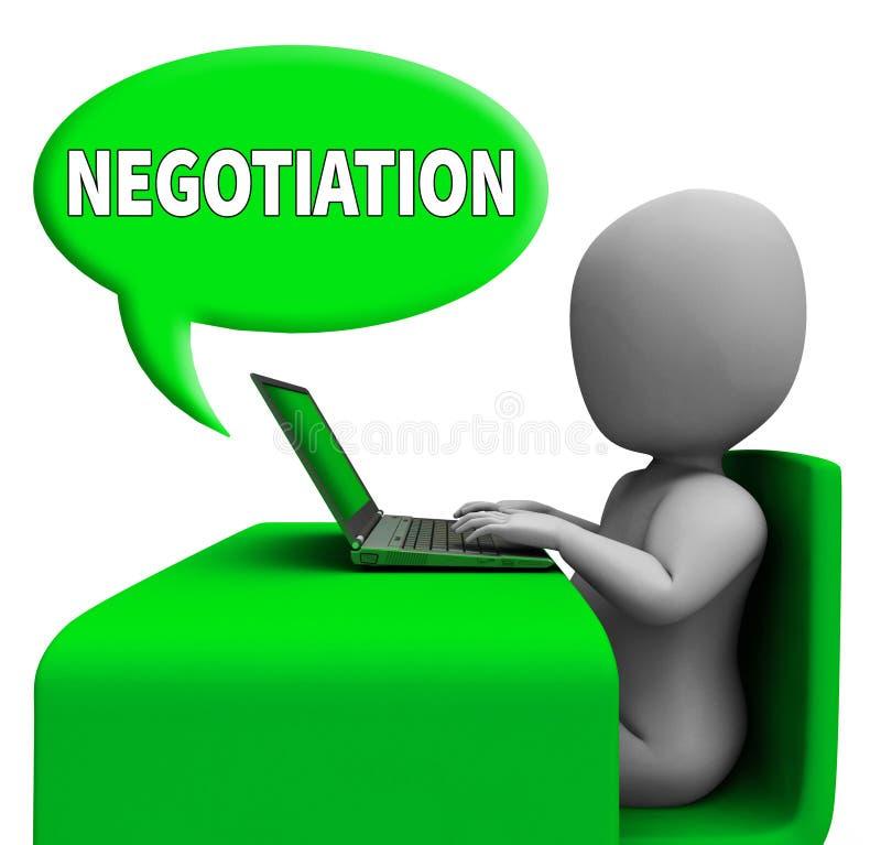 Negocjacja Komunikacyjni sposoby Negocjują Online 3d rendering ilustracji