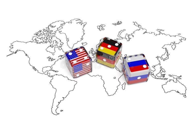 Negocjacja między usa, Niemcy i Rosja, ilustracja wektor