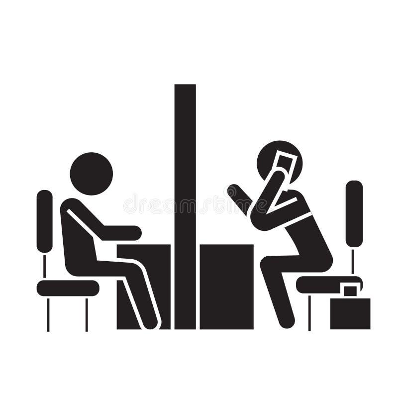 Negocjacja pokój, coworking biurowa czarna wektorowa pojęcie ikona Negocjacja pokój, coworking biurowa płaska ilustracja, znak royalty ilustracja