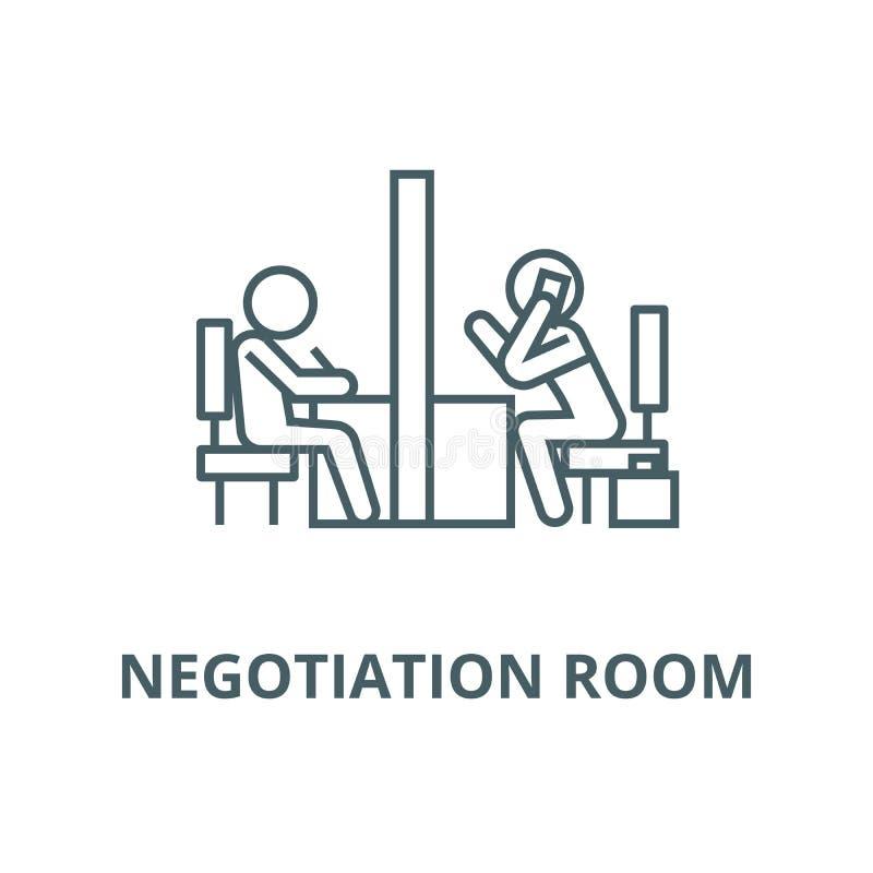 Negocjacja pokój, coworking biurowa wektor linii ikona, liniowy pojęcie, konturu znak, symbol royalty ilustracja