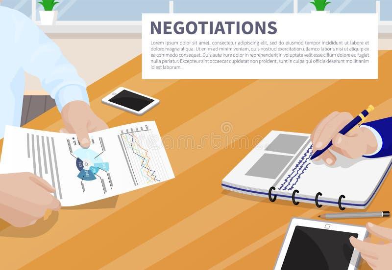 Negocjacja sztandaru wektoru Kolorowa ilustracja royalty ilustracja
