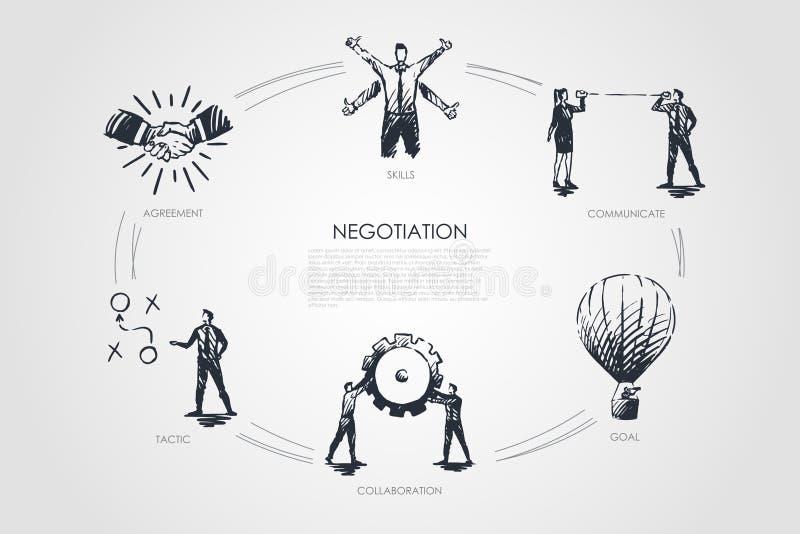Negocjacja - umiejętności, cel, taktyka, komunikują, współpracy ustalony pojęcie ilustracji