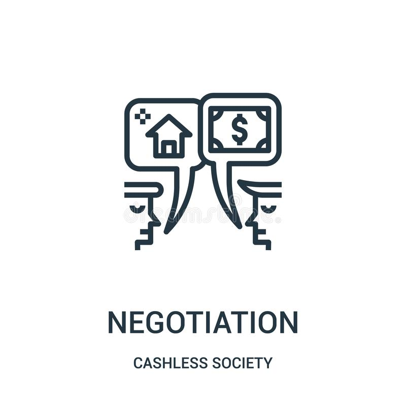 negocjacji ikony wektor od cashless społeczeństwo kolekcji Cienka kreskowa negocjacja konturu ikony wektoru ilustracja royalty ilustracja