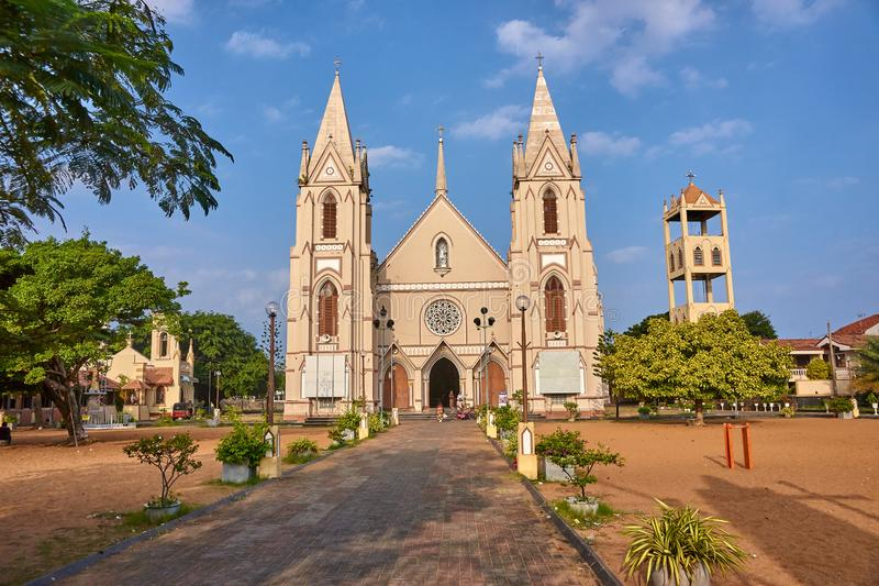 NEGOMBO, SRI LANKA - DECEMBER 19, 2018: Catolic church on 19 Dec. Ember 2018 in Negombo, Sri Lanka. Negombo is located near the international airport in Sri stock image