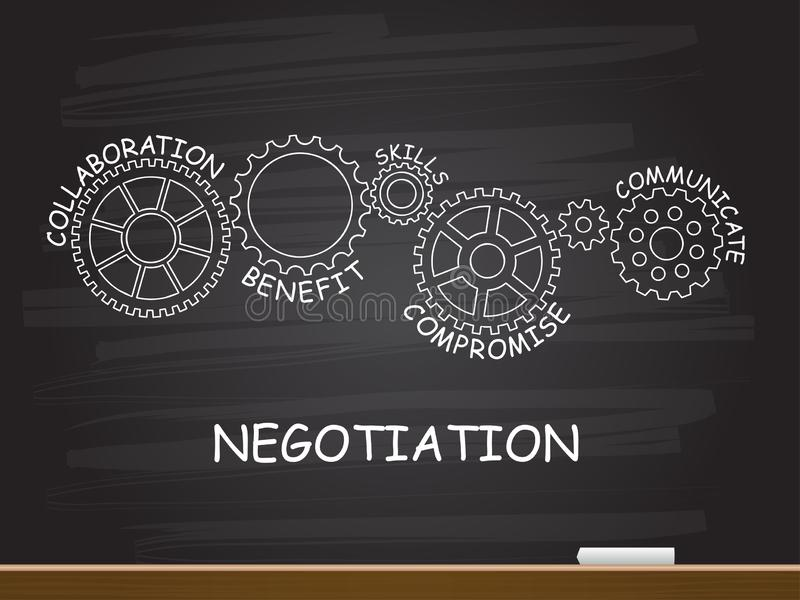 Negotiation with gear concept on chalkboard. Vector illustration vector illustration