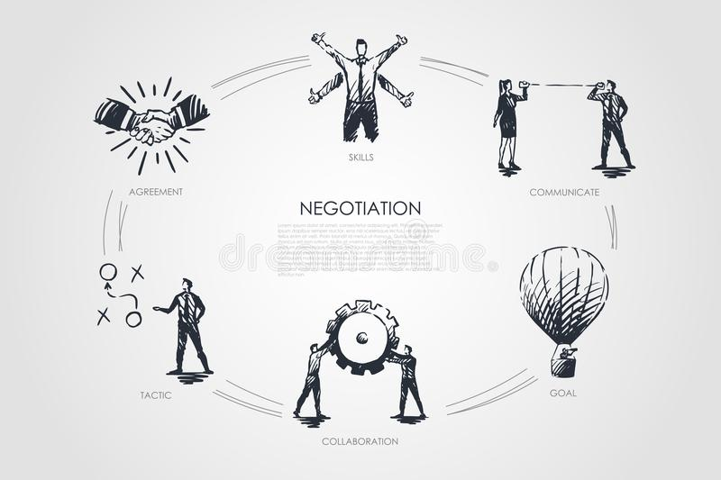 Negotiation - skills, goal, tactic, communicate, collaboration set concept. stock illustration