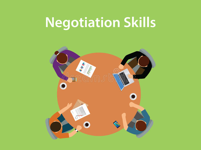 Negotiation skills illustration with four people discuss in one table with paperworks, coffee and laptop on top of table royalty free illustration