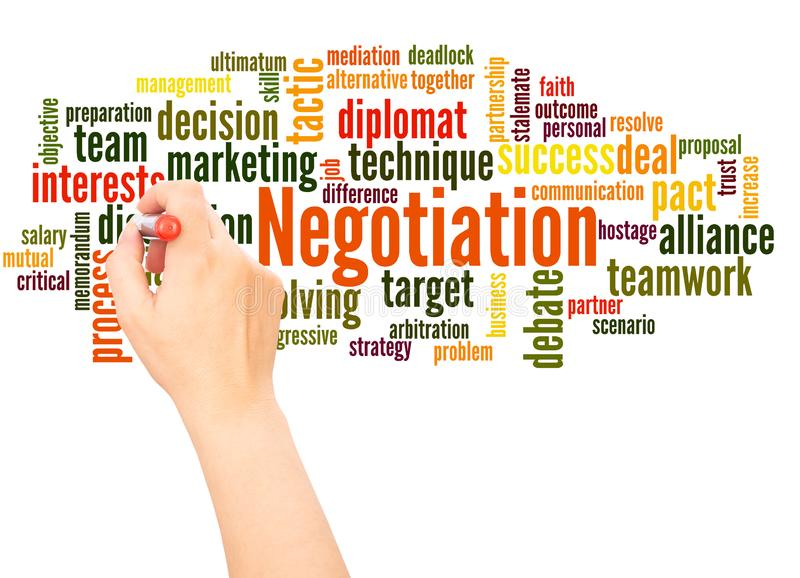 Negotiation word cloud hand writing concept stock photo