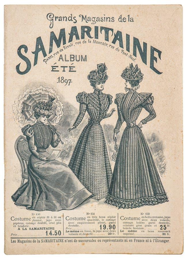Negozio antico di modo che annuncia il catalogo originale Parigi di acquisto fotografie stock