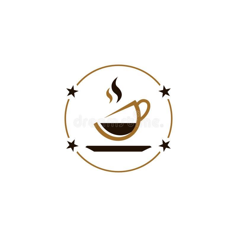 Negozio caldo del caffè del tè del cioccolato del caffè della bevanda della stella del cerchio royalty illustrazione gratis