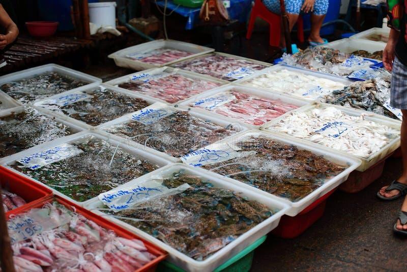 Negozio dei frutti di mare in Tailandia fotografia stock libera da diritti