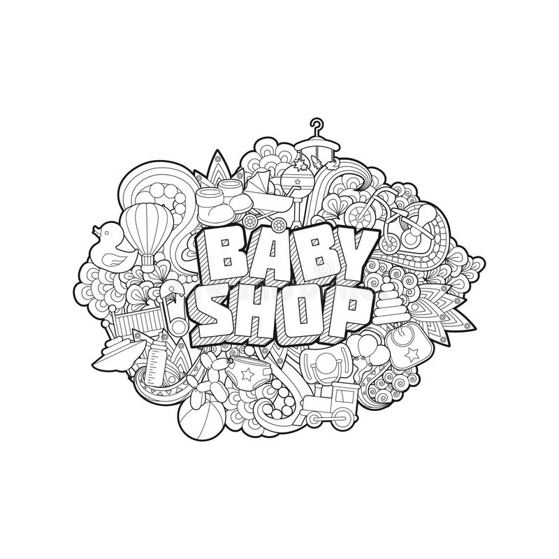 Negozio del bambino - iscrizione della mano e schizzo degli elementi di scarabocchi illustrazione di stock