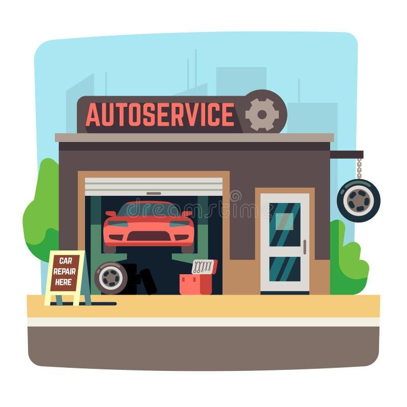 Negozio del meccanico di riparazione dell'automobile con l'automobile dentro l'illustrazione automatica di vettore del garage royalty illustrazione gratis