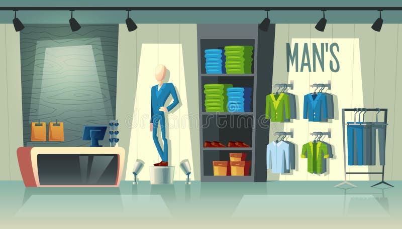 Negozio dell'abbigliamento degli uomini s di vettore, boutique maschio di modo illustrazione di stock