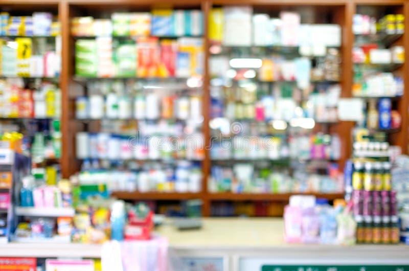 Negozio della farmacia di Blured fotografie stock libere da diritti