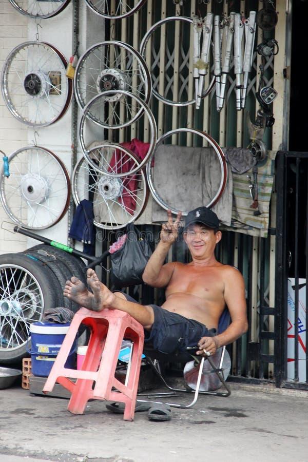 Negozio della ruota, Ho Chi Minh City, Vietnam fotografia stock