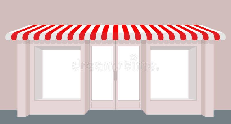 Negozio della vetrina Edificio di Rose Shop Deposito a strisce della tenda facade illustrazione di stock