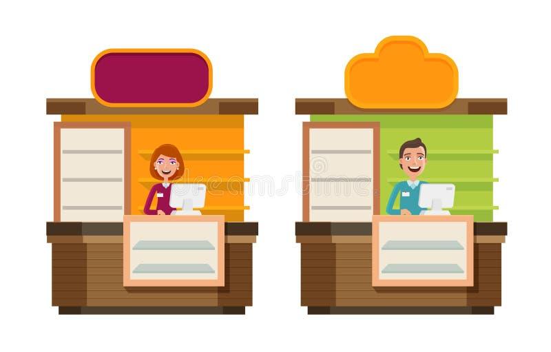Negozio, deposito, contatore, icona di compera Stanza frontale di negozio, vetrina, supporto di mostra, mostra, ricezione, concet illustrazione vettoriale