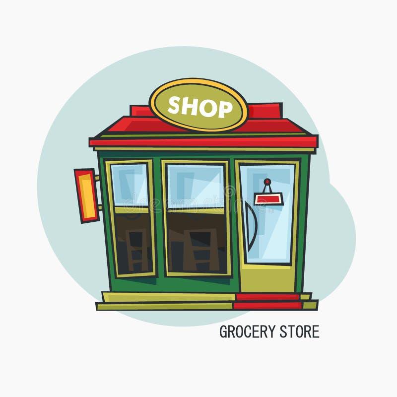 Negozio di alimentari o deposito con la vista esteriore della vetrina illustrazione di stock