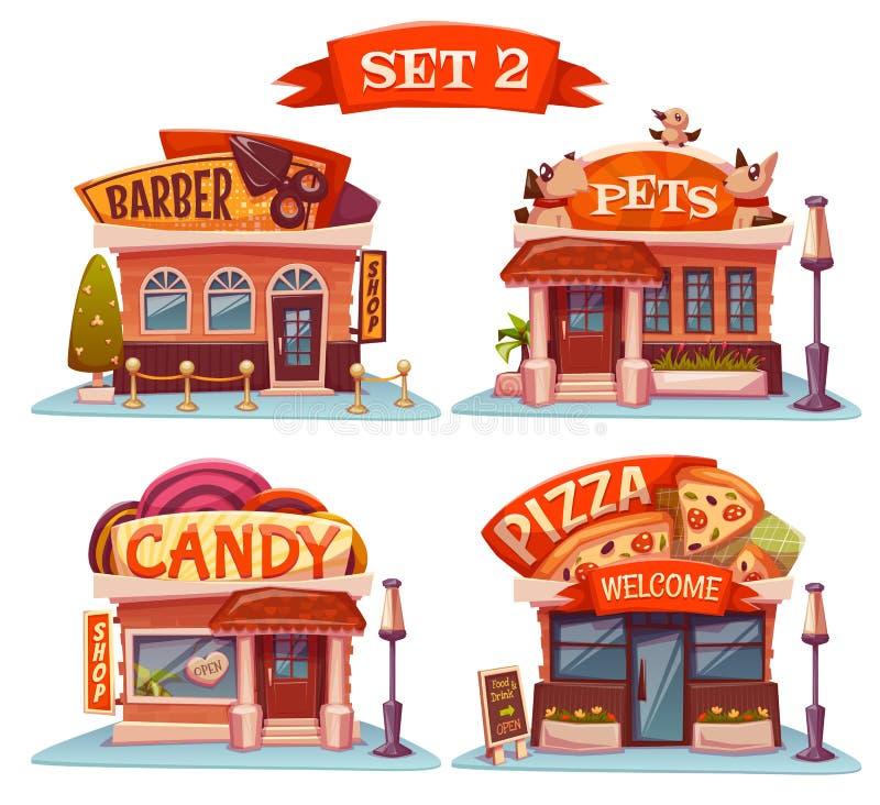 Negozio di animali, di Candy, pizzeria e parrucchiere Vettore royalty illustrazione gratis