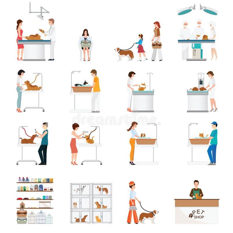 Negozio di animali e clinica moderni dell'animale domestico con il cliente isolato su bianco illustrazione di stock