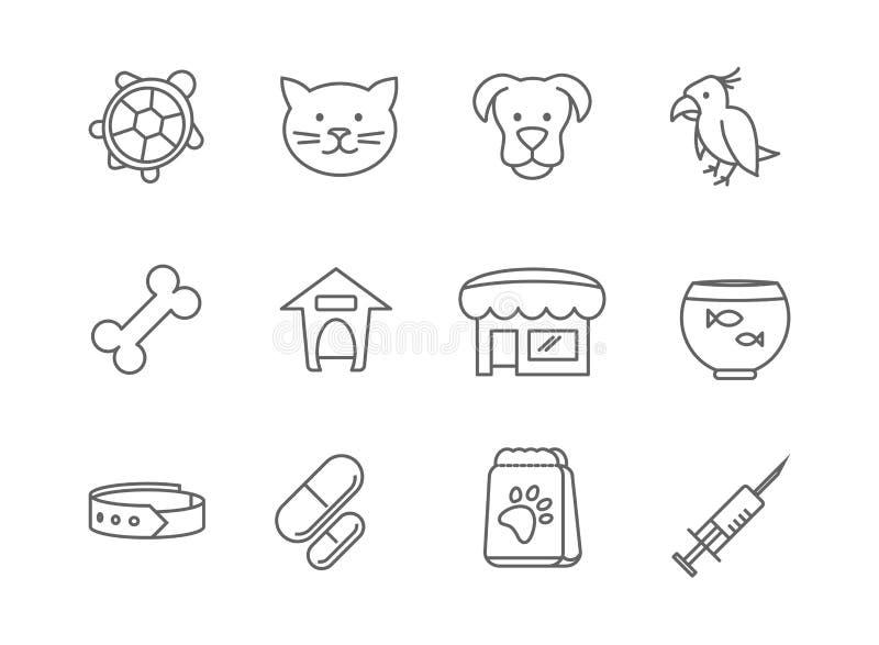 Negozio di animali e linea icone della clinica di vettore illustrazione di stock