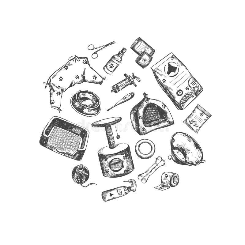 Negozio di animali Raccolta disegnata a mano di vettore Oggetti isolati su bianco illustrazione vettoriale