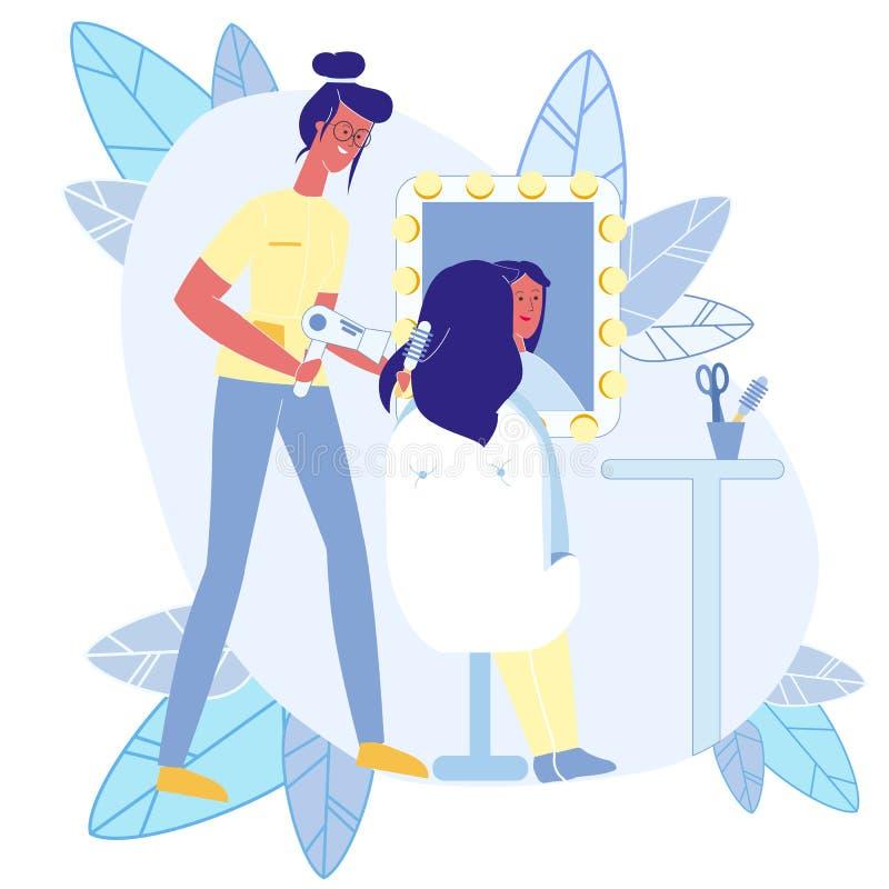 Negozio di bellezza, illustrazione piana di vettore di lavoro di parrucchiere illustrazione vettoriale
