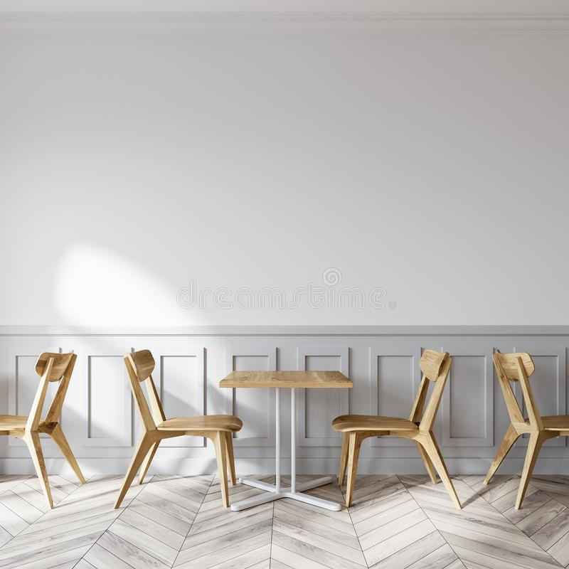 Negozio di caffè macchiato moderno, sedie di legno illustrazione vettoriale