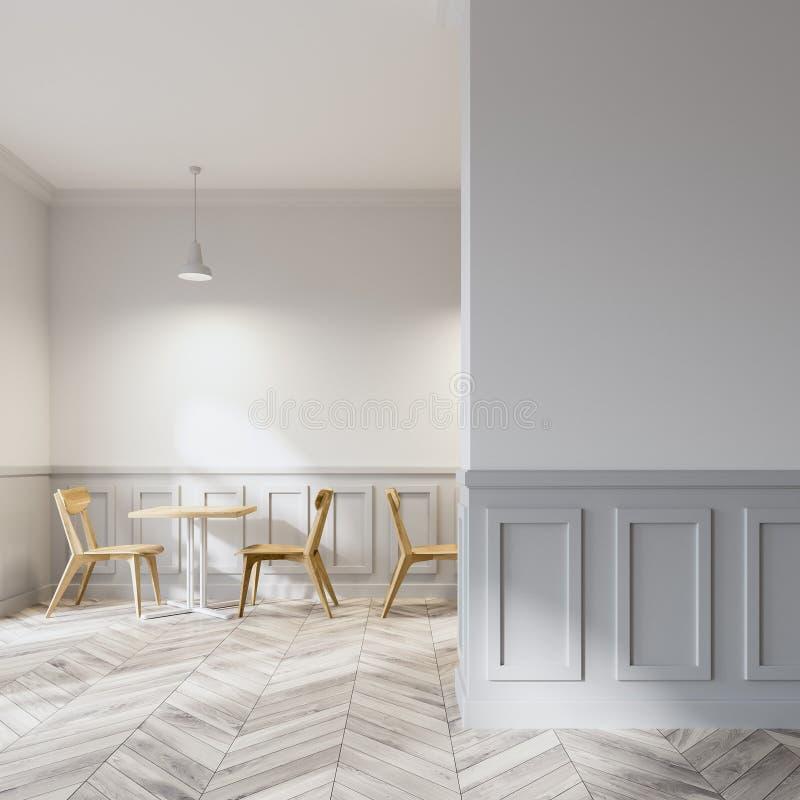 Negozio di caffè macchiato moderno, sedie di legno, parete illustrazione vettoriale