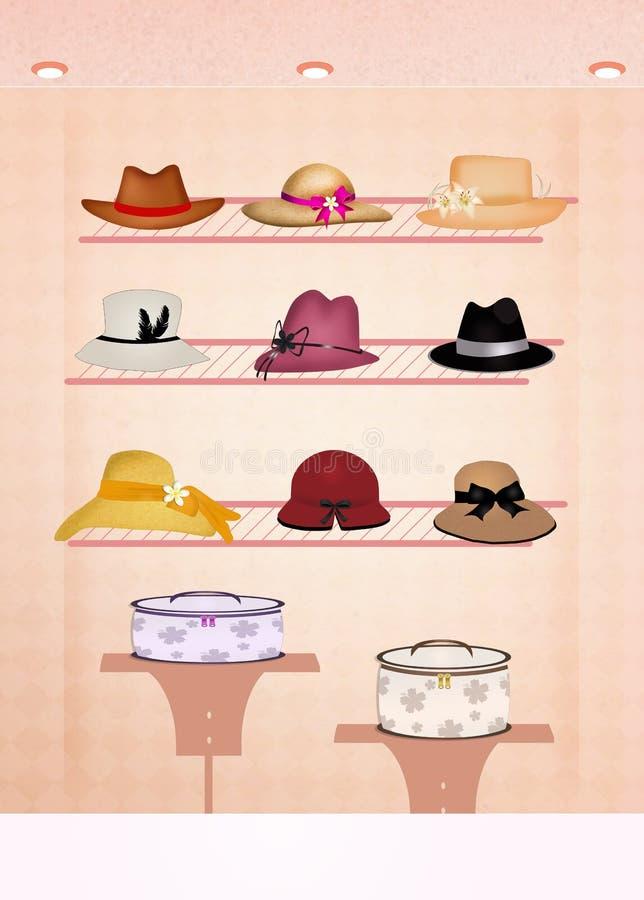 Negozio di cappelli illustrazione di stock