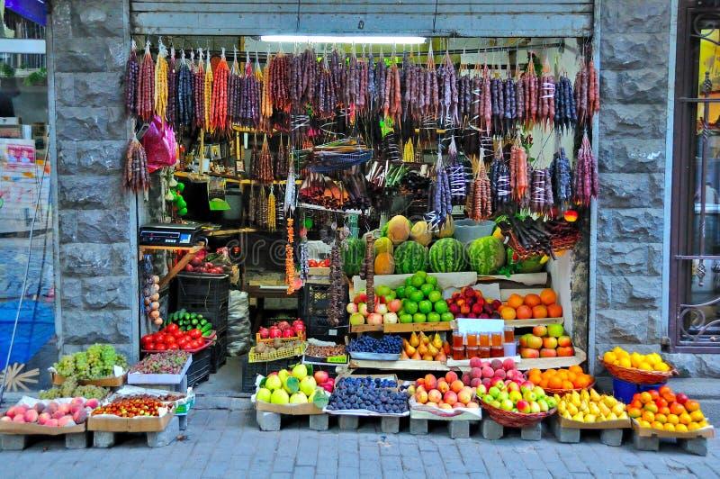 Negozio di Churchkhela della frutta, Tibilisi Georgia immagini stock libere da diritti