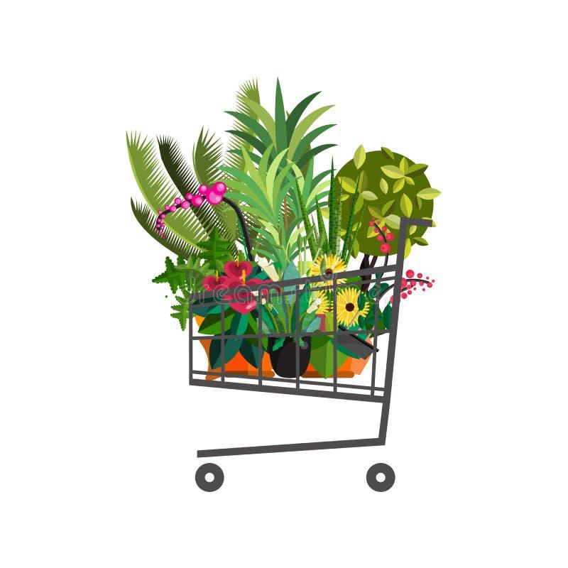 Negozio di fiorista Carrello con le piante Progettazione piana del deposito di fiore royalty illustrazione gratis