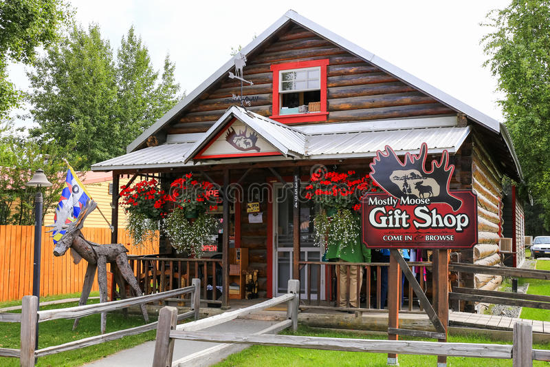 Negozio di regalo Talkeetna delle alci dell'Alaska principalmente immagini stock