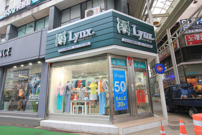 Negozio di usura di golf di Lynx in Corea del Sud immagine stock libera da diritti