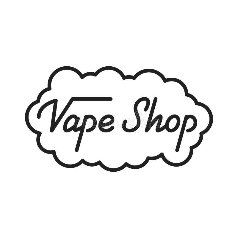 Negozio di Vape Illustrazione dell'iscrizione del negozio di Vape Emblema del distintivo dell'etichetta del negozio di Vape illustrazione di stock