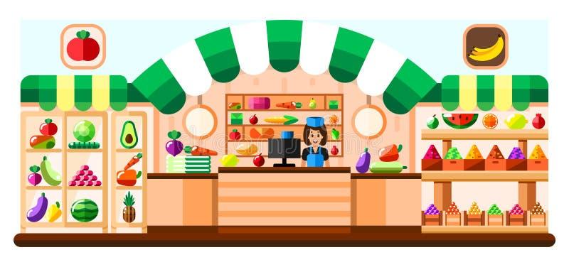 Negozio di verdure dell'interno con il venditore, la vetrina ed il frigorifero Interno del supermercato con le golosità Frutta e  illustrazione vettoriale