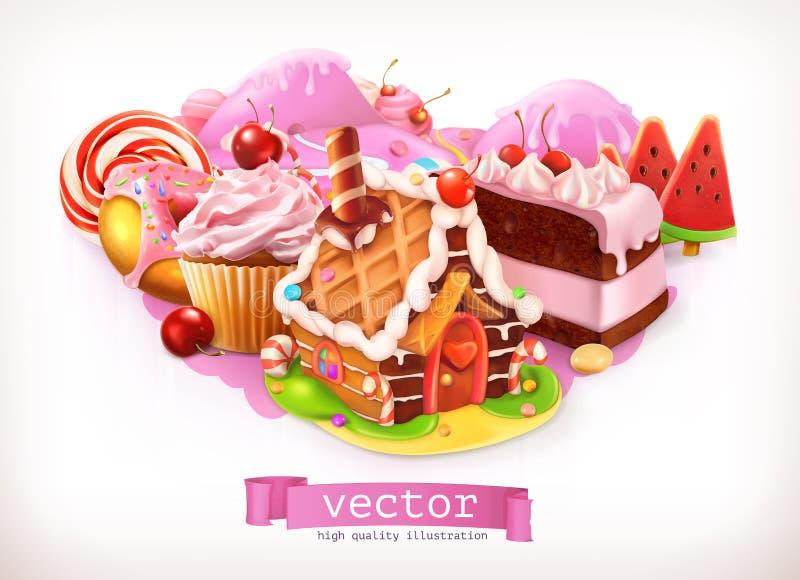 Negozio dolce Confetteria e dessert, casa di pan di zenzero, dolce, bigné, caramella Illustrazione di vettore illustrazione di stock